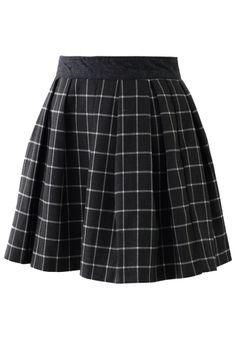 Grey Tartan Pleated Skirt//