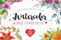 50% INTRO SALE Watercolor Flower Kit by fontgirl on @creativemarket