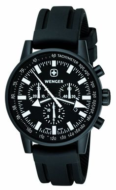 683e8de234f Click Image Above To Buy  Wenger Men s Commando Patagonian Expedition Race  Chronograph Watch - Black Rubber Strap - Black Dial - 70890