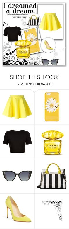 """yellow passion"" by alessandra-lomartire on Polyvore featuring moda, Jeremy Scott, Kate Spade, Ted Baker, Versace, Fendi, Steve Madden e Christian Louboutin"