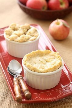 Apple Pie For Two from - Craving apple pie but don't want to be stuck with leftovers? I have the perfect solution for your apple pie fix – Double Crusted Apple Pie For Two with a homemade pie crust and apple pie filling. Mug Recipes, Apple Recipes, Cooking Recipes, Cooking Tips, Healthy Cooking, Dishes Recipes, Recipies, Cooking Kale, Cooking Pasta