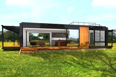 Connect Homes Connect 3 prefab home rendering. Modern Prefab Homes, Modular Homes, Loft Plan, Container House Design, Shipping Container Homes, Little Houses, Building A House, Building Ideas, House Plans