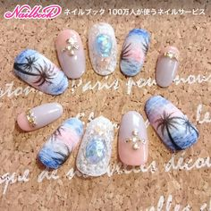Cute Nail Art, Nail Art Diy, Cute Nails, Blue Wedding Nails, Seashell Nails, Sunset Nails, Sea Nails, Fall Nail Art Designs, Mermaid Nails