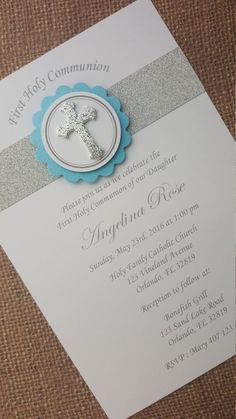 7x First Holy Communion Invitations by MyPrettyLittleParty on Etsy
