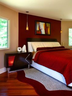 Bedroom ideas on pinterest red accent walls bedroom red for Red master bedroom designs