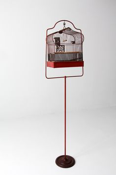 circa A rare find! This antique bird cage was crafted by Crown. The red metal cage features a matching stand. The cage is a classic Crown style with an arched top and rectangle base. Vintage Birthday Cards, Card Birthday, Birthday Images, Birthday Quotes, Birthday Greetings, Birthday Wishes, Happy Birthday, Bird Tattoos Arm, Antique Bird Cages