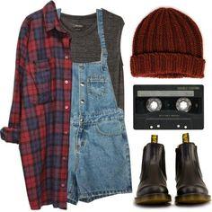 - Red flannie - Grey singlet top - Burgandy beanie - Work boots -