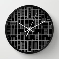 Map Lines Silver Wall Clock #map #abstract #geometric #squares #grid #black #silver #grey