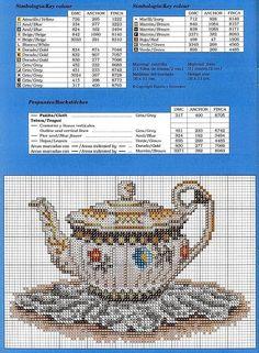 Oriental Teapots of Cross Stitch Boards, Just Cross Stitch, Modern Cross Stitch, Cross Stitch Designs, Cross Stitch Patterns, Cross Stitching, Cross Stitch Embroidery, Cross Stitch Kitchen, Tea Pots
