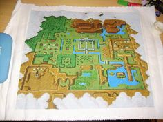 Zelda map in cross-stitch form