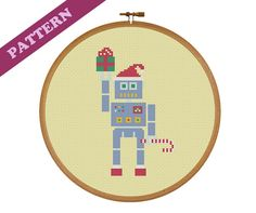Christmas Robot with Santa Hat, Candy Cane, & Present Cross Stitch Pattern, Instant PDF Download