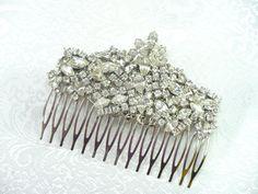 Vintage Bridal or Formal RHINESTONE Hair Comb  by ElegantiTesori, $69.99