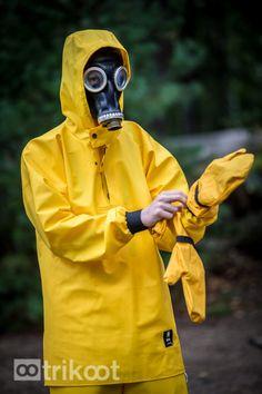 Pamela Fields in a gas mask.