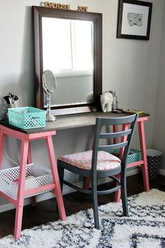 Attic Bedroom and an Easy Vanity, http://bec4-beyondthepicketfence.blogspot.com/2015/10/teen-attic-bedroom-easy-vanity.html