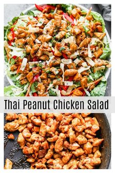 Thai Peanut Chicken Salad is a delicious healthy salad for lunch or dinner. Full of protein and vegetables for a complete meal. Thai Peanut Chicken Salad is a delicious healthy salad for lunch or dinner. Full of protein and vegetables for a complete meal. Best Salad Recipes, Salad Recipes For Dinner, Dinner Salads, Asian Recipes, Healthy Salads For Dinner, Healthy Delicious Meals, Healthy Meal Recipes, Summer Lunch Recipes, Meal Salads