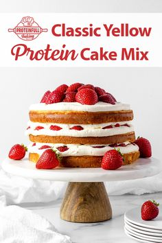 """Two packages of Proteinfull Baking classic yellow cake mix prepared, baked into three 8"""" rounds (so the layers are a bit thinner than if we used two), layered with sugar-free whipped cream and fresh strawberries. Easy and delicious healthy cake! #proteincake #protein #cake #strawberries #healthybaking Healthy Cake, Healthy Baking, Sugar Free Whipped Cream, Protein Cake, Yellow Cake Mixes, Healthy Habits, Strawberries, Layers, Fresh"""