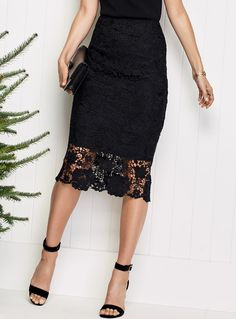 Get your hands on the latest & trendiest skirts! Available in mini, midi, maxi lengths and chic, casual styles for work and all occasions. Lace Skirt Outfits, Chic Outfits, Dress Skirt, Fashion Outfits, Midi Skirt, Long Lace Skirt, Crochet Long Sleeve Tops, Diy Clothes Design, Minimal Fashion