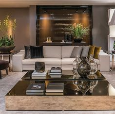 Neutral modern luxury living room - Home Decor Living Room Modern Elegant Living Room, Elegant Home Decor, Elegant Homes, Living Room Modern, Home Living Room, Living Room Designs, Living Room Furniture, Living Room Decor, Modern Furniture