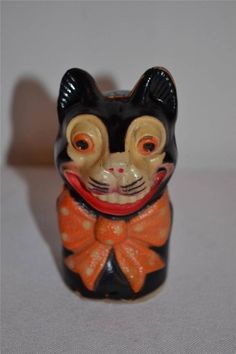 Vintage RARE c 1930s  Viscoloid Celluloid Halloween Black Cat Toy