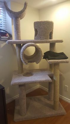All done!  DIY homemade cat tree.  Might add a hammock at the bottom later on.  Made it a little tall :p, can't reach the top