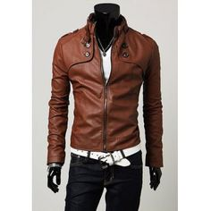 $30.37 Classic Stand Collar Buttons Embellished Long Sleeves PU Leather Coat For Men