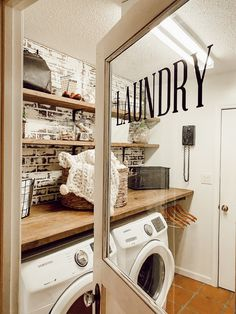 45 The Best Laundry Room Makeover Ideas For Your Dream House - Its one of the most used rooms in the house but it never gets a makeover. What room is it? The laundry room. Almost every home has a laundry room and . Laundry Room Doors, Laundry Room Remodel, Laundry Room Storage, Laundry Room Design, Laundry In Bathroom, Farmhouse Laundry Rooms, Laundry Closet, Small Laundry, Laundry Room Makeovers