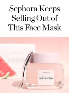 Keeps Selling Out of This Face Mask (and We Got to Try It) Watermelon glow sleeping mask is the new face mask that Sephora keeps selling out of.Watermelon glow sleeping mask is the new face mask that Sephora keeps selling out of. Acne Face Mask, Diy Face Mask, Face Skin, Sephora, Chocolate Face Mask, Watermelon Glow Sleeping Mask, Watermelon Face Mask, Cucumber Face, Pore Mask
