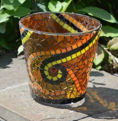 Windlicht braun orange gelb 13 cm hoch - Mosaikkasten