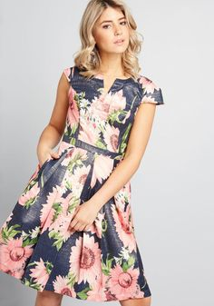 Personal Boldness Fit and Flare Dress in 00 - Cap Sleeves Fit & Flare Knee by ModCloth Simple Dresses, Plus Size Dresses, Cute Dresses, Summer Dresses, Linen Dresses, Floral Dresses, Dressy Dresses, Elegant Dresses, Evening Dresses