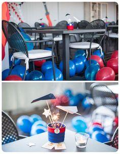 Top gun party, feste per bambini, centrotavola con aerei e stellina