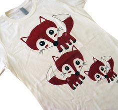 FOX Shirt - Cute Red Foxes T-Shirt - Available in Ladies sizes S, M, L, XL. $16.00, via Etsy.