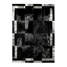 patchwork cowhide double frame - black white  silver
