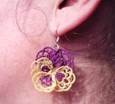 Tatted lace earrings purple yellow Pansies For Thoughts via Etsy.