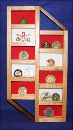 """This item is made of Oak and Walnut wood, it is clear coated with a clear gloss finish. Holds 20 military unit coins based on a 2"""" coin, has red, white and blue felt, comes with hardware to hang it with.  Item is 20 1/16"""" tall,  10 1/4"""" wide and 1 1/16"""" thick."""
