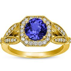 18K Yellow Gold Sapphire Luxe Victorian Split Shank Halo Ring from Brilliant Earth