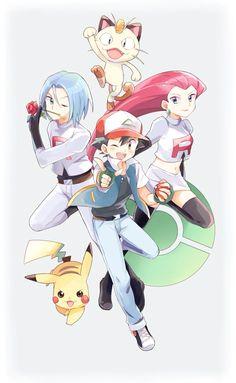 Pokemon - Ash, Pikachu and Team Rocket Equipe Rocket Pokemon, Pokemon Team Rocket, Mega Pokemon, Pokemon Fan Art, Pokemon Games, Cute Pokemon, Pokemon Fusion, Pokemon Manga, Pikachu