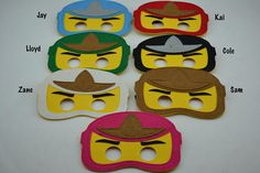 Ninjago Felt Masks - Birthday Party Favor. Great for Kids Boy Girl Child Toddler Superhero Costume Outfit. Kai Cole Zane Jay Lloyd Sam