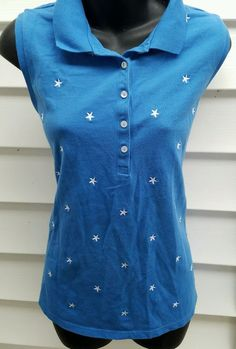 Croft Barrow Large Sleeveless Blue with White Stars Buttons Rockabilly  #CroftBarrow #sleevelesstop