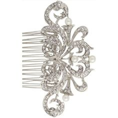 16 Braunton Bridal Wedding Art Deco Flower Pearl Hair Comb Clear... ($19) ❤ liked on Polyvore featuring accessories, hair accessories, bride hair accessories, pearl hair accessories, bridal hair comb, hair combs accessories and beaded hair accessories
