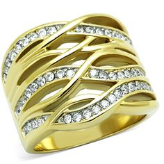 Women's Stainless Steel 316 Gold Plated Cubic Zirconia Wide Band Cocktail Ring * Details can be found by clicking on the image.-It is an affiliate link to Amazon. #Rings