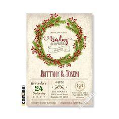 Christmas Baby Shower Invitation Winter December Gender