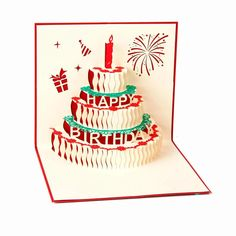 Happy Birthday Card -Birthday Cake Papercraft /3D Pup Up Greeting Card