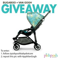 We are SO excited about the brand new limited-edition Bugaboo + Van Gogh Bee3 that will be shipping this week, that we're giving one away to a very lucky winner!  To enter - follow us on Instagram, and repost this pic with the hashtag #ppbVanGogh! Ends 4/27/15! Enter now!! http://instagram.com/pishposhbabydotcom