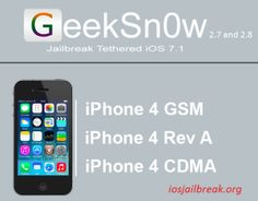 GeekSn0w – New iOS 7.1 Jailbreak Tool Released  When iOS 7.1 released, patching the exploits on Evasi0n 7, you could almost hear the collective groan.  Evad3rs have since confirmed that they are not actively working on a jailbreak for iOS 7.1 and will more than likely wait until iOS 8 is released later on this year.