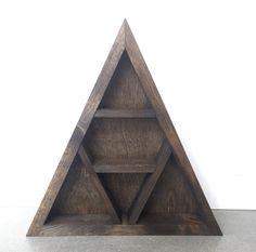 Triangle Trinket and Crystal Shelf Woodworking Patterns, Woodworking Plans, Woodworking Projects, 5am Club, Triangle Shelf, Crystal Shelves, Crystal Grid, Rustic Wood, Furniture Decor
