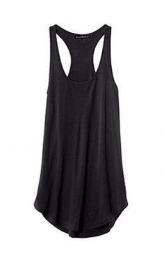 Black O-neck Round Hem Cotton Vest.
