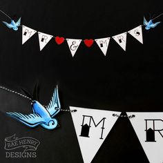 TATTOO WEDDING BUNTING SAILOR JERRY SWALLOWS/SPARROWS ROCKABILLY PUNK B