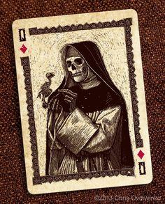 Queen of Diamonds-Calaveras — Playing cards inspired by the Day of the Dead by Chris Ovdiyenko — Kickstarter Skull And Bones, Skull Art, Chicano Art, Card Design, Art, Dark Art, Card Art, Creepy Art, Playing Cards Art