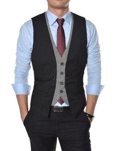 Mens premium Business casual layered style slim vest (Dark gray