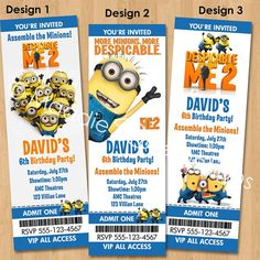 Despicable Me 2 Invitation - Printable Minions Birthday Party Ticket Invite Custom Personalized Digital Photo Card 4x6 or 5x7